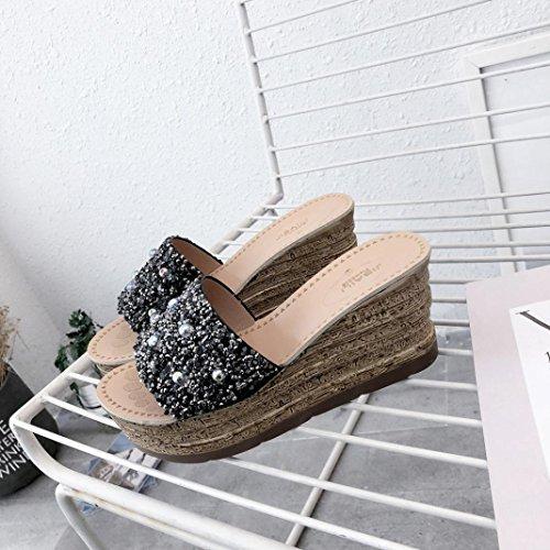 Verano Sexy Chancleta Perla Gruesa LuckyGirls 7 Mujer Moda de Zapatos Partido y Zapatillas 5cm Sandalias Casual Chanclas Lentejuelas Cuñas Negro Vacaciones Suela qY0tg