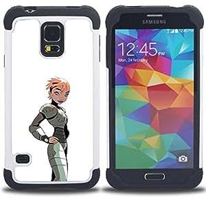 """Pulsar ( Gaming Comic Chica Mujer Arte de la historieta del traje"""" ) SAMSUNG Galaxy S5 V / i9600 / SM-G900 V SM-G900 híbrida Heavy Duty Impact pesado deber de protección a los choques caso Carcasa de parachoques"""