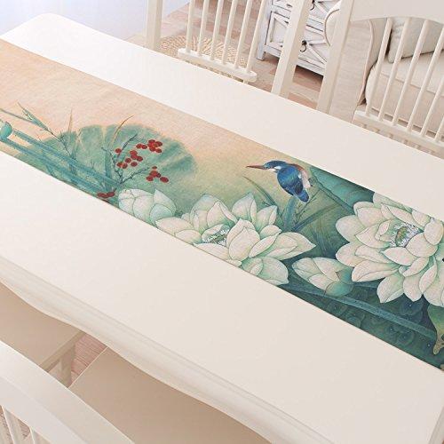 ASIBG Home Cotton linen table runner-Chinese-Asian tea tea Chinese tea table runners-and-ink Lotus,R,30×160cm (Tea Table Asian)