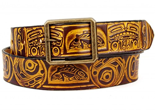 Marakesh Leather Men's Handmade Totem Leather Belt 42 Buckskin/Brown ()