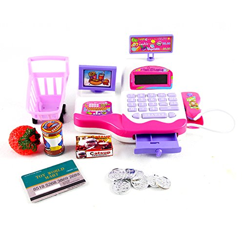 Babrit Grown Pretend Play Electronic Cash Register Toy Realistic Actions & Sounds Pink