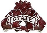 NCAA Mississippi State Bulldogs Adizero 5-Star 6.0 Football Gloves, White/Maroon, X-Large