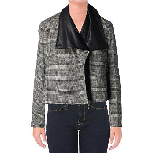 (LAUREN RALPH LAUREN Womens Wool Glen Plaid Jacket Black-Ivory L)