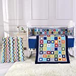 Wowelife-Baby-Crib-Bedding-Sets-for-Boys-Blue-8-Piece-Square-Geometry-Nursery-Bedding-Set-for-Baby-with-BumpersBlue-Lattice-8-Piece