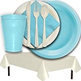 Plastic Party Supplies for 50 Guests - Light Blue and Ivory - Dinner Plates, Dessert Plates, Cups, Lunch Napkins, Cutlery, and Tablecloths - Premium Quality Tableware Set