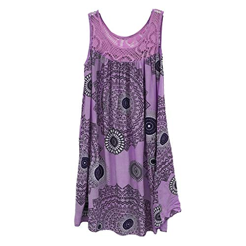 ★QueenBB★ Women's Summer Sleeveless Bohemian Print Tunic Swing Loose Pockets Knee Length T-Shirt Dress Purple from ★QueenBB★