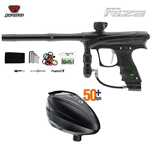 Proto Rize Paintball Gun + Dye Rotor Hopper Combo Package - Black...