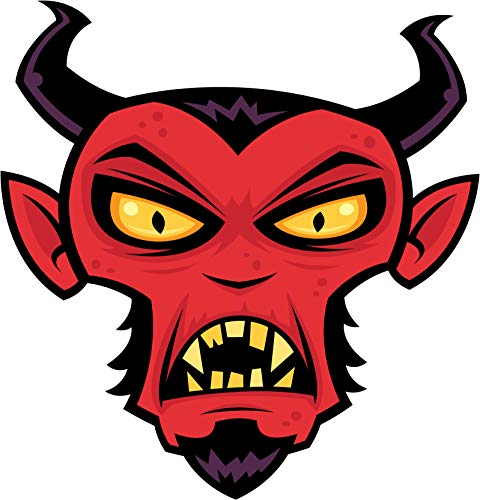 Scary Demon Evil Devil Red Face Halloween Cartoon Vinyl Sticker (8