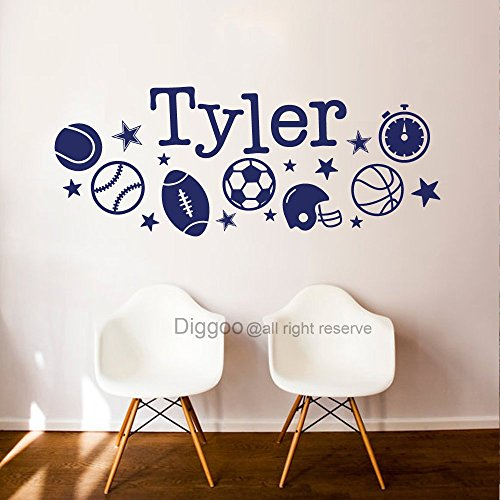 Personalized Sport Wall Decals Boys Room Basketball Football Baseball Wall Decal Name Sports Theme Nursery Decor (8.5