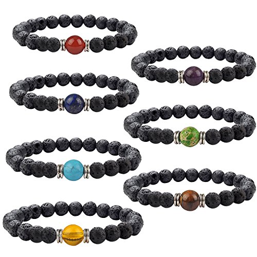 Bracelet Metal Bead (YOGA GEMSTONE JEWELRY 7 Pack Single Woven Gemstone Bracelet Natural Stones Stretch Bracelets Yoga Reiki Prayer Beads Lucky Bracelet)