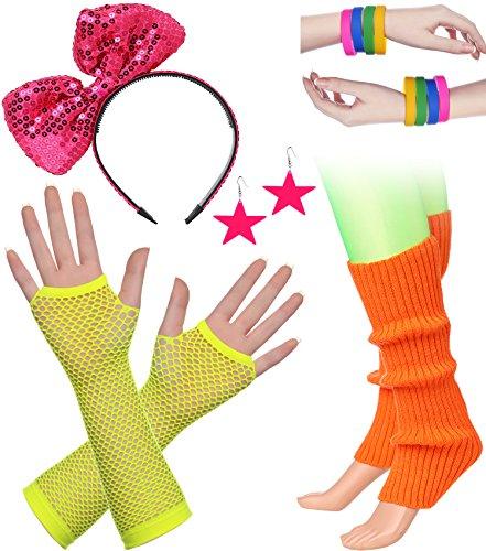 BABEYOND 80s Outfit Costume Accessories Neon Earrings Fishnet Gloves Leg Warmers Headband Bracelets (Set 3) -
