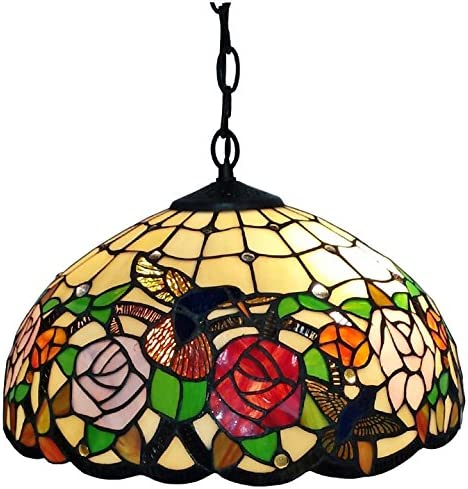 Tiffany Style Hanging Pendant Lamp 16 Wide Stained Glass White Humminbird Antique Vintage 2 Light Decor Bedside Restaurant Living Dining Room Kitchen Bedroom Gift AM019HL16B Amora Lighting