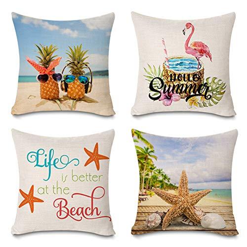 Faromily Summer Decorations Set of 4 Decorative Pillow Covers Hello Summer Beach Starfish Tropical Pineapple Flamingo Home Décor Cotton Linen Throw Pillow Case Cushion Cover (Summer Beach)