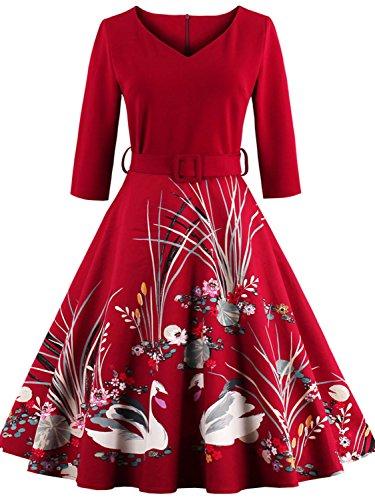 [Vintage 1950s Audrey Hepburn Dresses Retro Style Swan Print Costume,Red,4XL] (1800s Dresses Costumes)