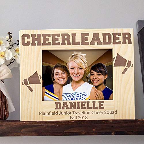 [해외]치 어 리더 맞춤형 목조 액자 4 인치 × 6 인치 라이트 브라운 (가로) / Cheerleader Personalized Wooden Picture Frame 4 x 6 Light Brown (Horizontal)