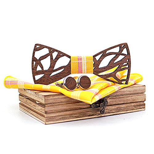 Meidexian888 Wooden Bow Tie Set,Manual Wooden Bow Tie Handkerchief Set Men's Bowtie Wood Hollow Carved And Box (Yellow)
