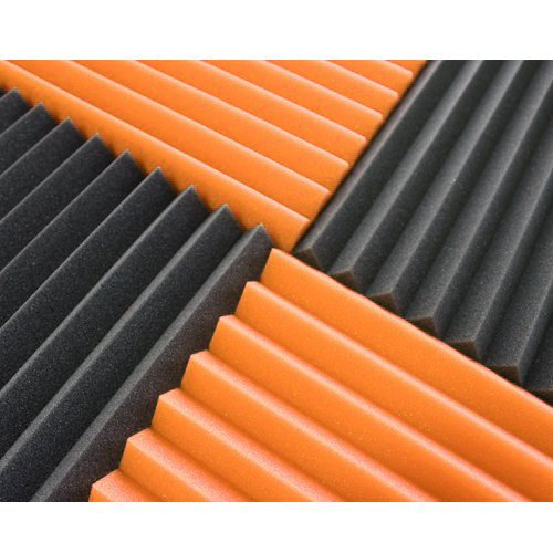 (12 Pk) 1''x12''x12'' Orange/Charcoal Acoustic Panels Soundproofing Foam Acoustic Tiles Studio Foam Sound Wedges (12T)