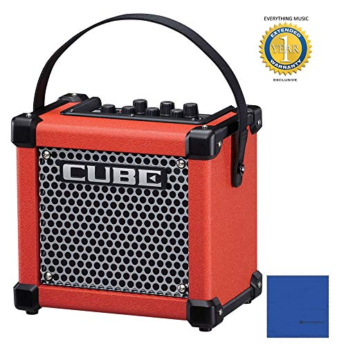 Roland Micro Cube GX Guitar Amplifier Red (M-CUBE-GXR) with Microfiber and 1 Year Everything Music Extended -