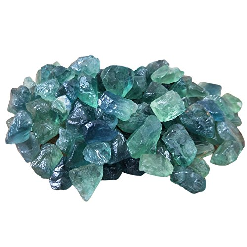 Yunhigh Natural Fluorite Raw Gemstone Quartz Crystal Stone Bulk Healing Wand Reiki Chakra Meditation Therapy Protection Amulet - 10pcs,Green