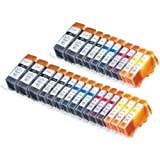 25 Pack Compatible Canon CLI 221 , CLI-221 , CLI221 , PGI 220 , PGI-220 , PGI220 5 Small Black, 5 Cyan, 5 Magenta, 5 Yellow, 5 Big Black for use with Canon PIXMA Ip3600, PIXMA Ip4600, PIXMA Ip4700, PIXMA MX860, PIXMA MX870. PIXMA Ip 3600, PIXMA Ip 4600, PIXMA Ip 4700, PIXMA MX 860, PIXMA MX 870.. Ink Cartridges for inkjet printers. © Blake Printing Supply