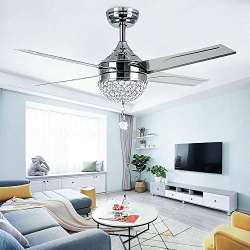 LED Crystal Ceiling Fan Light With Remote Control Modern Fans 4 Stainless Steel Blades For Home Decoration Modern Room Bedroom 44 Inch