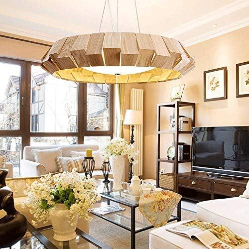 Nolog SXWGX Vintage Industrial Kitchen Light, Retro Wooden Chandeliers Light Fixture Circular Wood Frame Metal Cage Hanging Pendant Ceiling Light Luminaire