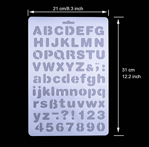 qibote plastic letter stencils alphabet number drawing painting stencils scale template for notebook diary