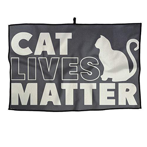 Eplus Waffle Microfiber Golf Towel Light Weight & Quick Drying Black Cat Lives Matter Kitten Kitty Cart Towel 15