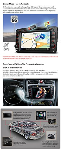 XTRONS Android 6.0 Octa-Core 64Bit 7 Inch Capacitive Touch Screen Car Stereo Radio DVD Player GPS CANbus Screen Mirroring Function OBD2 Tire Pressure Monitoring for Mercedes Benz W203 W209 W463 by XTRONS (Image #6)