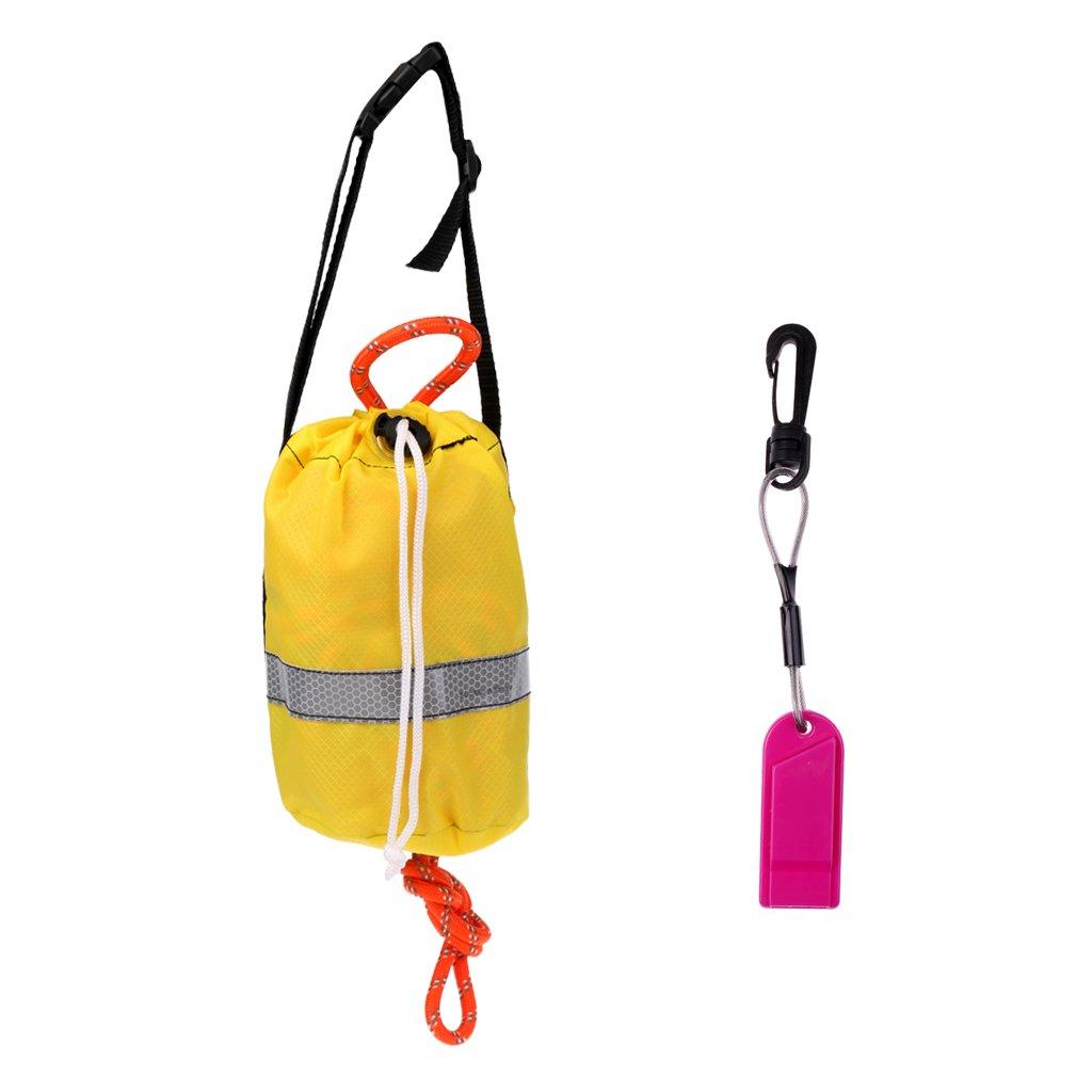 MonkeyJack 16m Kayaking Reflective Throwline Rescue Throw Bag Floating Rope Safety Whistle