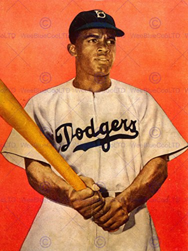 VINTAGE PHOTO PORTRAIT JACKIE ROBINSON BASEBALL BROOKLYN DODGERS NEW FINE ART PRINT POSTER PICTURE 30x40 CMS - To International Mail Australia Priority