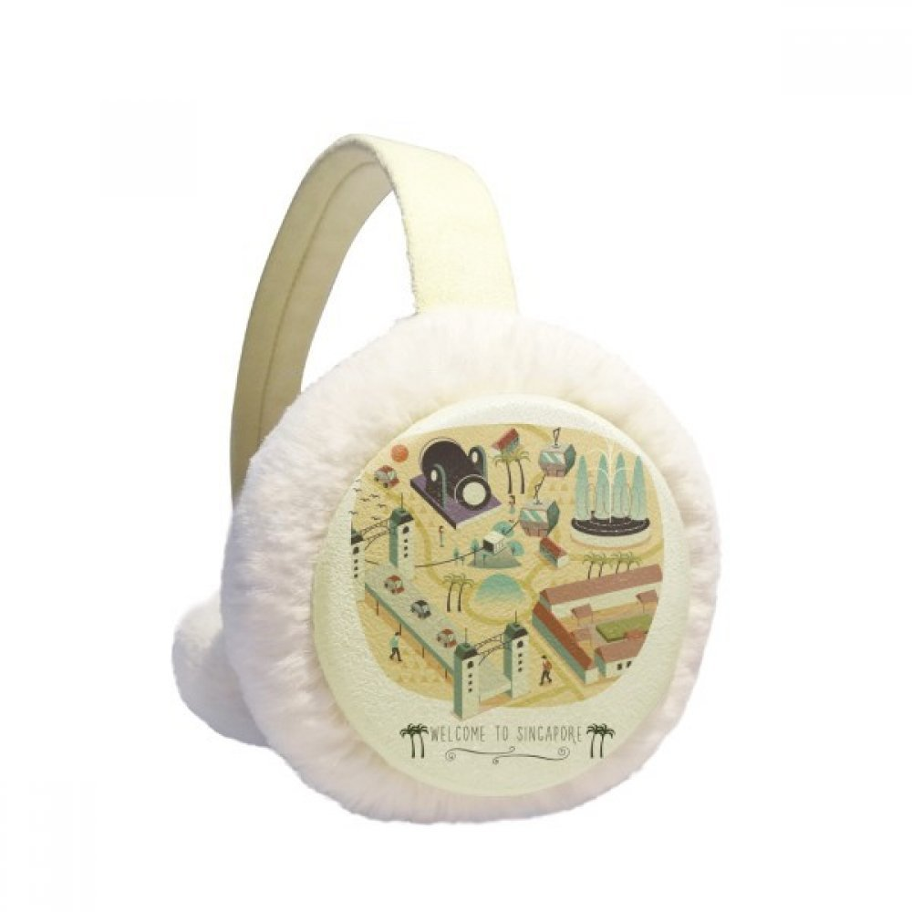 Welcome to Singapore Landmarks Winter Earmuffs Ear Warmers Faux Fur Foldable Plush Outdoor Gift