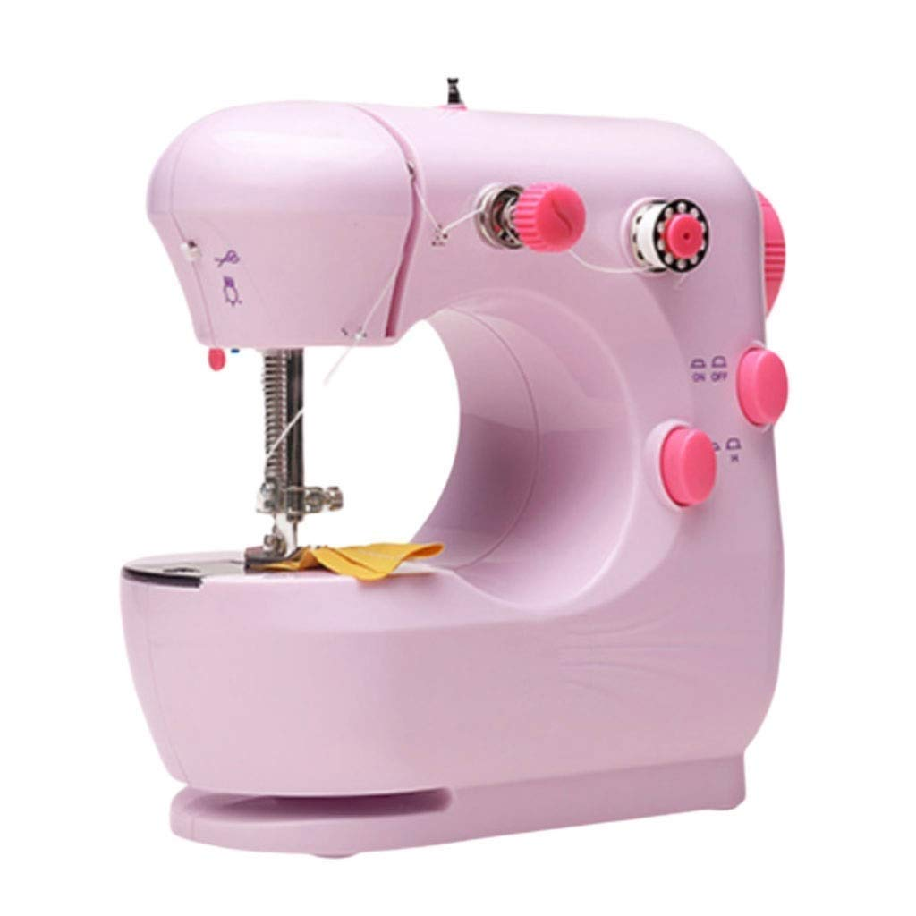 JLL Mini Sewing Machine for Thick & Multiple Layers Fabrics, 2 Speed Embroidery Stitching Heavy Duty Quilting Machine Easy to Use with Extension Table, Foot Pedal Operation - Blue (Color : Pink) by JLL