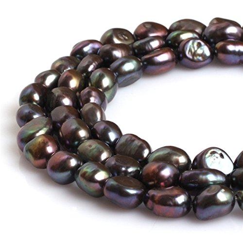 Joe Foreman Freshwater Cultured Pearl Beads for Jewelry Making Gemstone Semi Precious 8-9x10-11mm Olivary Blue Gray 15