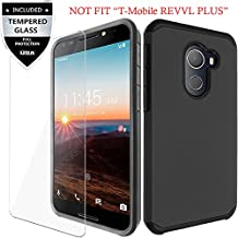 T-Mobile REVVL Case, Alcatel A30 FIERCE / Alcatel A30 Plus / Alcatel Walters Case With Tempered Glass Screen Protector,IDEA LINE(TM)Heavy Duty Hybrid Hard Shockproof Slim Fit Cover - Black