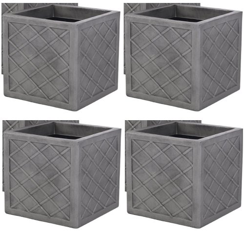 4 x Strata Lazio 39.5cm Square Plastic Planter Plant Pot Lattice Slate Grey Colour