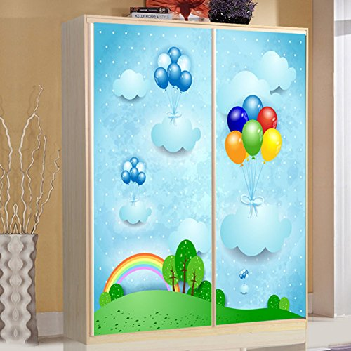 QT&QZDF Cartoon glass window stickers,Bathroom sliding door stickers frosted opaque wardrobe door stickers-A 60x80cm(24x31inch)