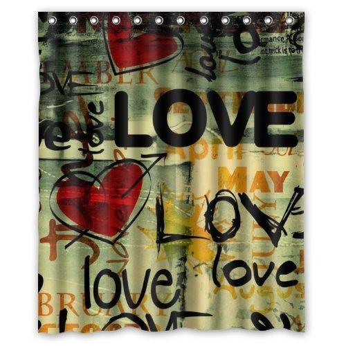 100% Polyester Waterproof Graffiti - Art Love You Love Heart Shower Curtain (Heart Shower Curtain)