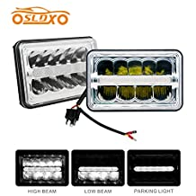 SLDX 4 x 6'' Led Sealed Beam (One Pair) Headlight High/Low Beam With Parking Light Replace HID Xenon H4651 H4652 H4656 H4666 H6545 Fit for Peterbilt Kenworth Freightliner -2 Year Warranty