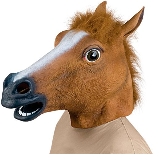 Confession Box Costume (Full Face Halloween Horse Mask Novelty Creepy Head Brown Costume Theater Prop Party Mask Christamas)