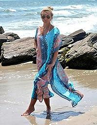 Akery Women\'s Chiffon Robe Beach Skirt Swimsuit Bikini Cover Up,One Size,Blue