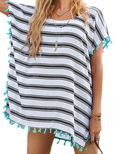 erdbeerloft - Camisas - Túnica - Manga corta - Opaco - para mujer blanco blanco talla única