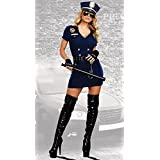 Dreamgirl Women's Officer Pat U. Down, Blue, M
