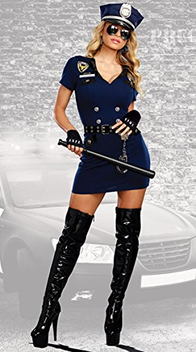 Dreamgirl Women's Officer Pat U. Down, Blue,