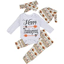 4Pcs Infant Toddler Baby Romper+Pants+ Hat + Headband Baby Thanksgiving Outfits