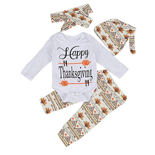 Thanksgiving Baby Outfits - 4Pcs Infant Toddler Baby Romper+Pants+ Hat