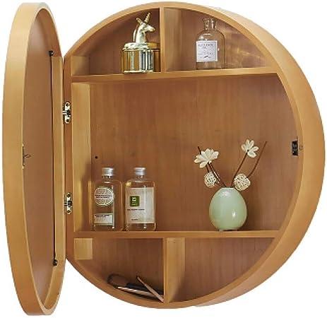 Sdk Round Bathroom Mirror Cabinet Wall Mirror Cabinet Cabinet Wood Color Modern Gloss Bathroom Mirror Storage Furniture Size 70cm Amazon Co Uk Kitchen Home