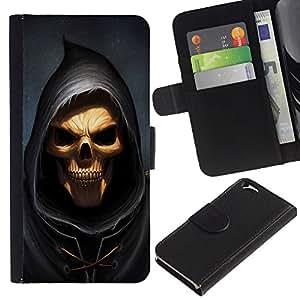 JackGot ( Cráneo Parca ) Apple (4.7 inches!!!) iPhone 6 / 6S la tarjeta de Crédito Slots PU Funda de cuero Monedero caso cubierta de piel