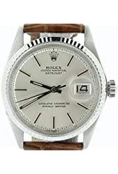 Men Rolex Stainless Steel/18K White Gold Datejust Watch Brown w/Silver Dial 1601