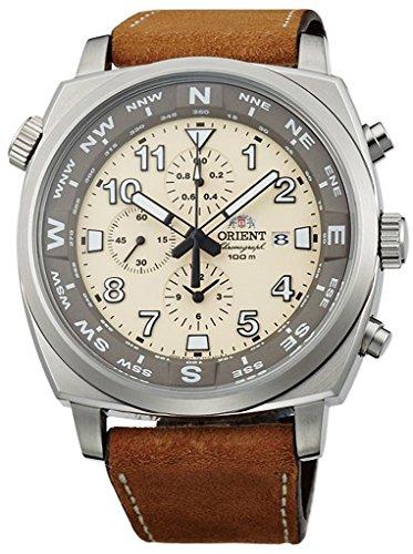 ORIENT Sporty Quartz Chronograph 100M Pilot Watch Classic Beige TT17005Y (Orient Quartz Chronograph)